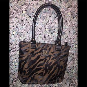 Anne Klein's Brown Zebra Zippered Tote
